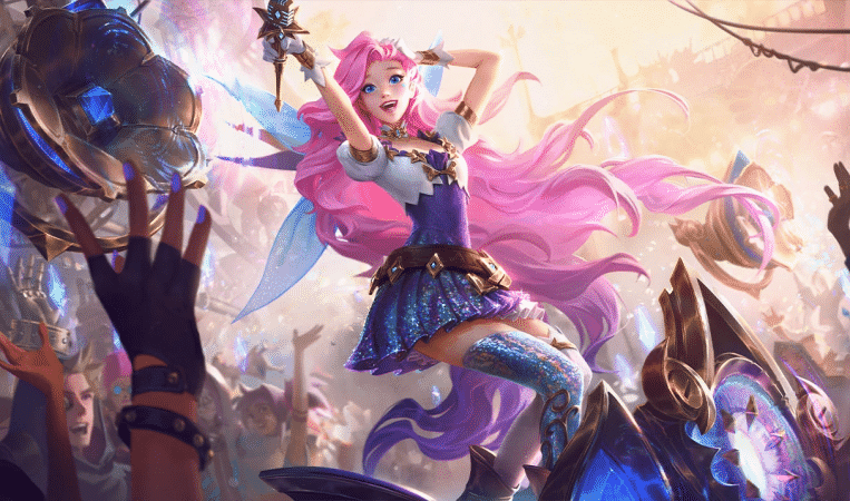 The splash art for League of Legends champion Seraphine, a pop star idol on a stage with a rowdy crowd around her