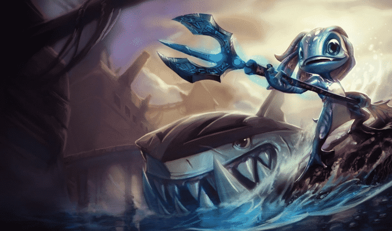 The splash art for League of Legends champion Fizz, a fish humanoid with a trident and a shark smiling next to him