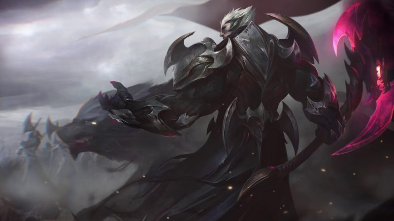Darius in his God-King Darius skin, standing with his back toward the viewer, his glowing great axe held at the ready