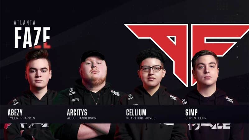The roster of the Atlanta Faze stand against a black background in their team jerseys
